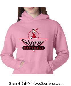 Youth Softball Sweatshirt - Pink Design Zoom